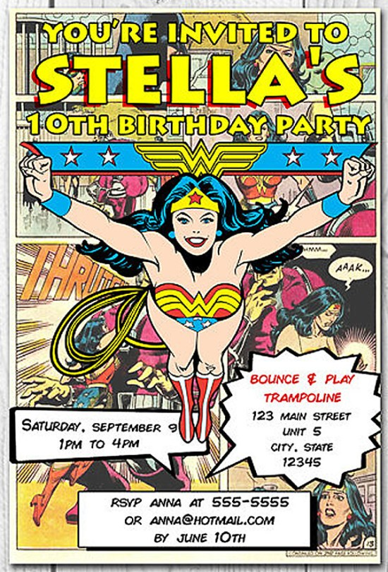 Comic inspired Wonder Woman birthday party invitation. Comic Wonder Woman Party | Halfpint Design, party ideas, party themes