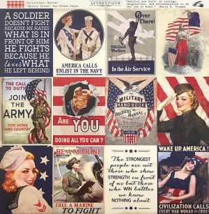 1940's Retro Patriotic Banner DIY | Halfpint Design - A great addition to your patriotic decor for 4th of July, Memorial Day, Patriot's Day, Veteran's Day or when you are just Proud to be an American! Vintage looking pin-up images. Americana decor. Coordinating paper design as an alternate or to complement banner.