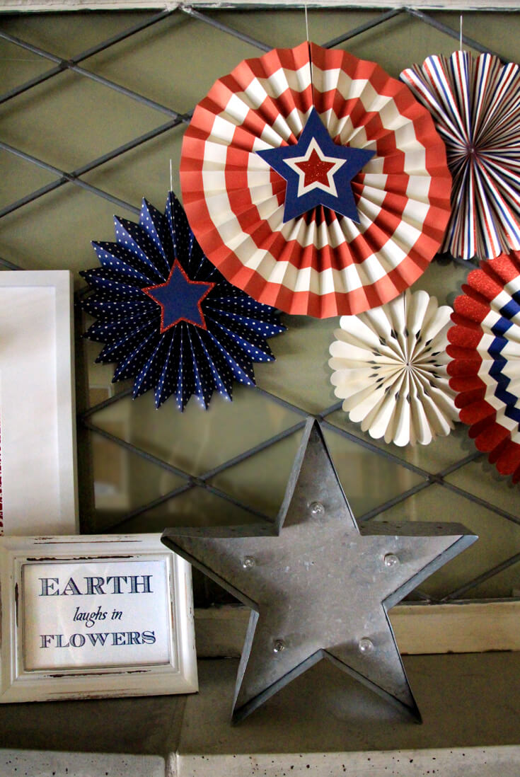Patriotic Mantel Decor Ideas   Halfpint Design - Loving the more rustic Americana decor for my fourth of July Mantel. Red, white, and blue 4th of July.