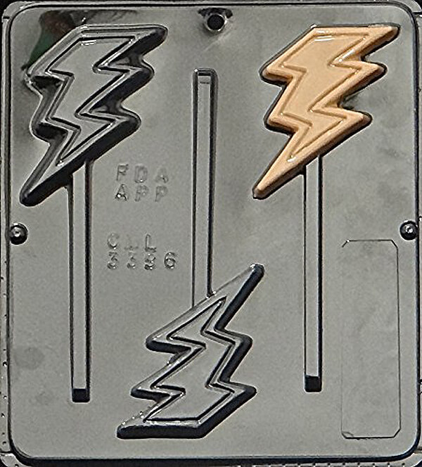 Create a Superhero cupcake topper or chocolate sucker with this lightning bolt candy mold. Wonder Woman Party Food | Halfpint Design, party ideas, party themes