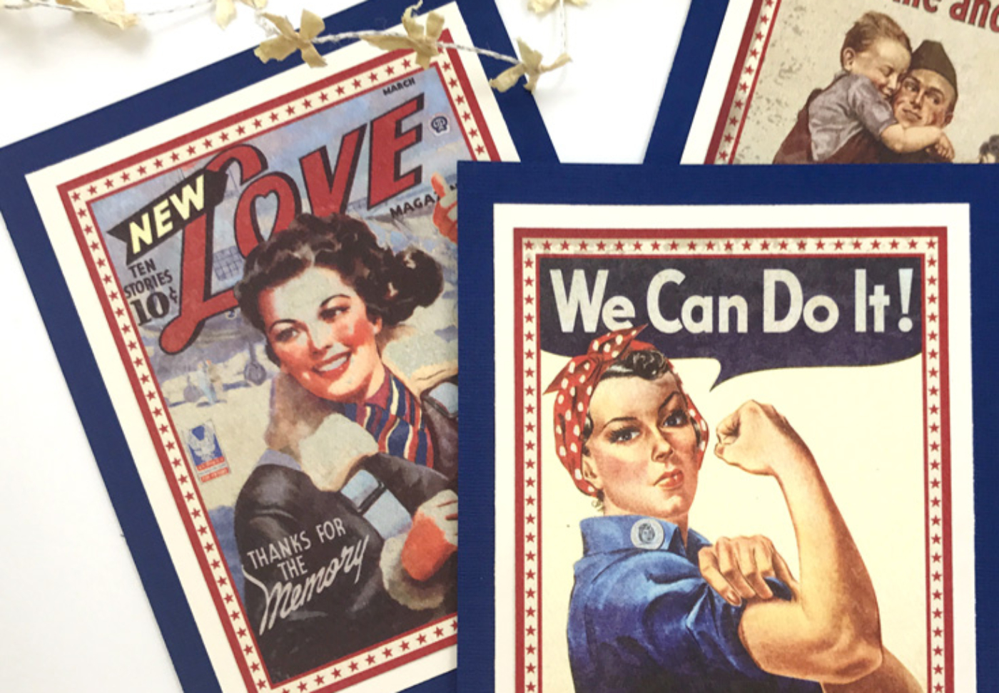 1940's Retro Patriotic Banner DIY   Halfpint Design - A great addition to your patriotic decor for 4th of July, Memorial Day, Patriot's Day, Veteran's Day or when you are just Proud to be an American! Vintage looking pin-up images. Americana decor.