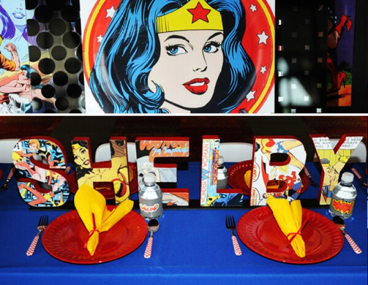 Using comic pages to decoupage letters of the birthday girl's name is so fun. This is a beautiful Wonder Woman birthday party. Comic Strip Wonder Woman Party | Halfpint Design, party ideas, party themes