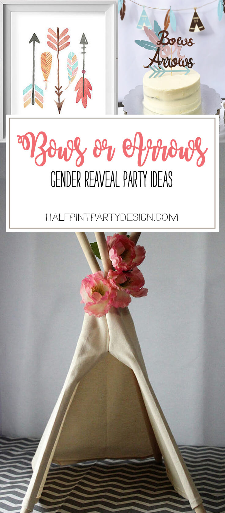 Bows or Arrows: Gender Reveal Party Ideas | Halfpint Design - Bows or Arrows is a darling gender reveal theme with tons of gorgeous party decor options. Checkout the list of party decor suggestions here.