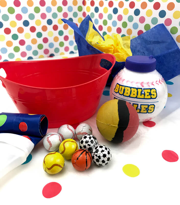 Ball Party Favor DIY | Halfpint Design - Supplies needed are minimal and ALL purchased from Dollar Tree. The kids loved this simple favor.