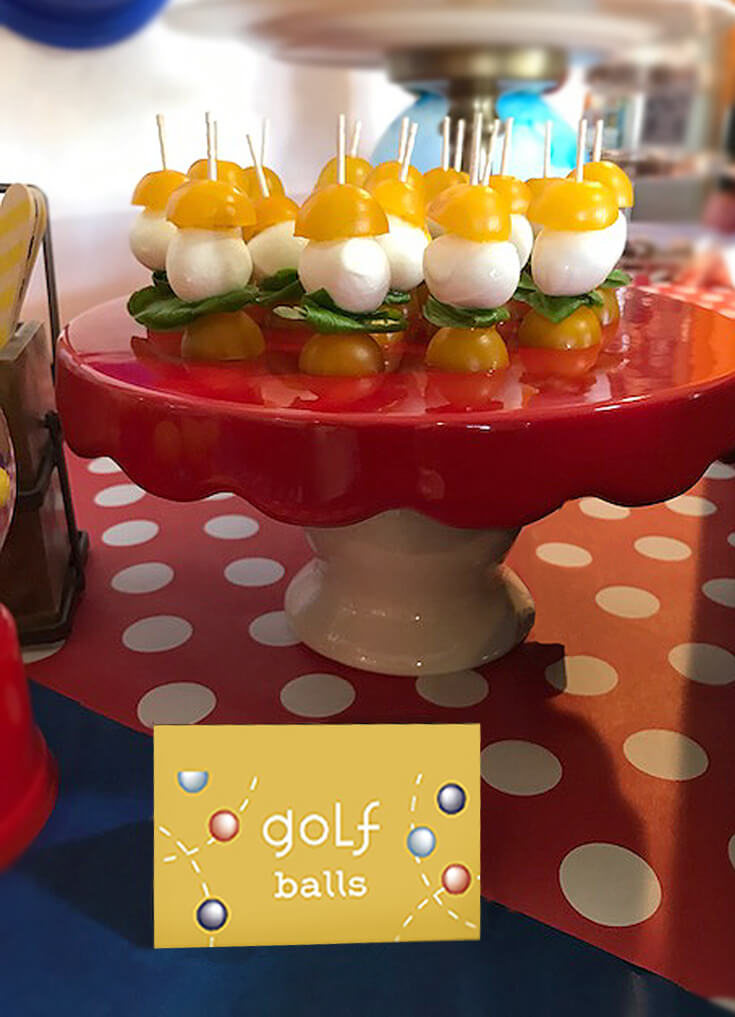 "Ball Party Event Menu | Halfpint Design - Our ""salad"" were little ""golf balls"" on turf. These Caprese skewers are always a hit with adults and children. I save the balsamic for the adults. Ball party food ideas."