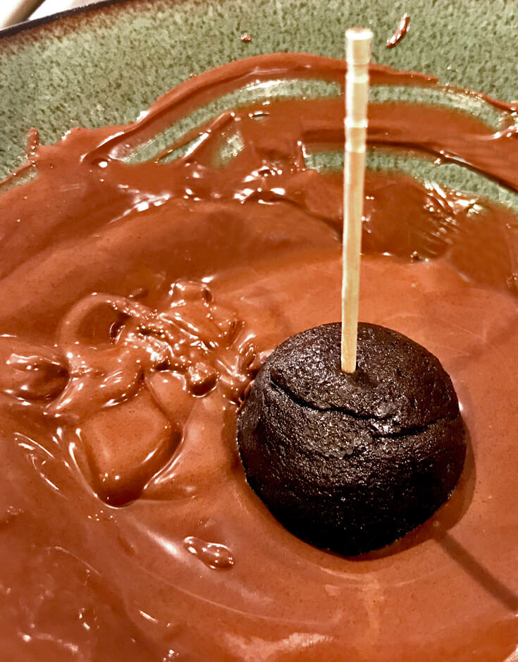 Easy Oreo Cake Ball Recipe | Halfpint Design - Steps 4-5: Freeze, then dip into the melted chocolate wafers.