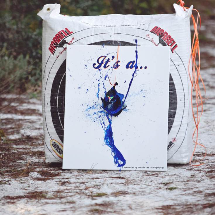 Bows or Arrows: Gender Reveal Party Ideas   Halfpint Design - Into archery? What better way to announce your baby's gender than to shoot an arrow into a balloon filled with paint!? Love this image from Memories by Amanda Lee Photography!