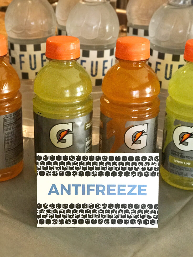 "Gatorade as ""Anti-freeze"" and Water as ""Fuel"" as two of the beverage options. Monster Truck Party Menu 