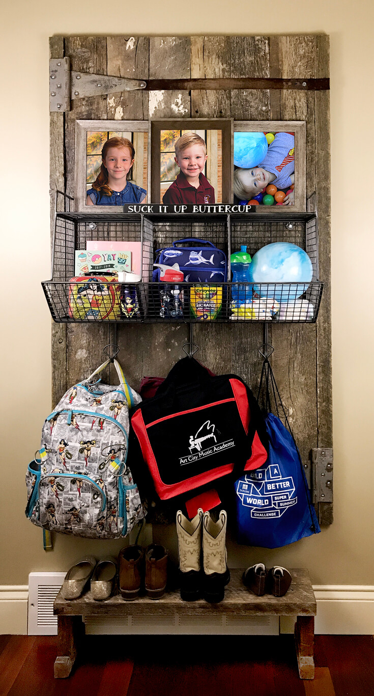 """All loaded up it's not quite as pretty...but isn't that real life? Sometimes we gotta """"suck it up buttercup!"""" - Farmhouse Back to School Organization 