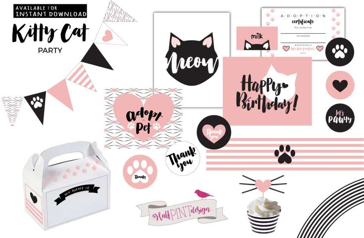Halfpint Design celebrates a half birthday with the launching of a new Halfpint Party Design Etsy Shop! Check out our Kitty Cat Birthday Party Printable Package.