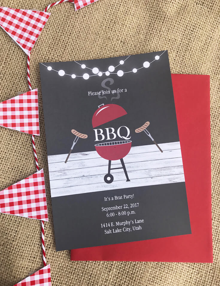 bbq invitation red white and bbq party party