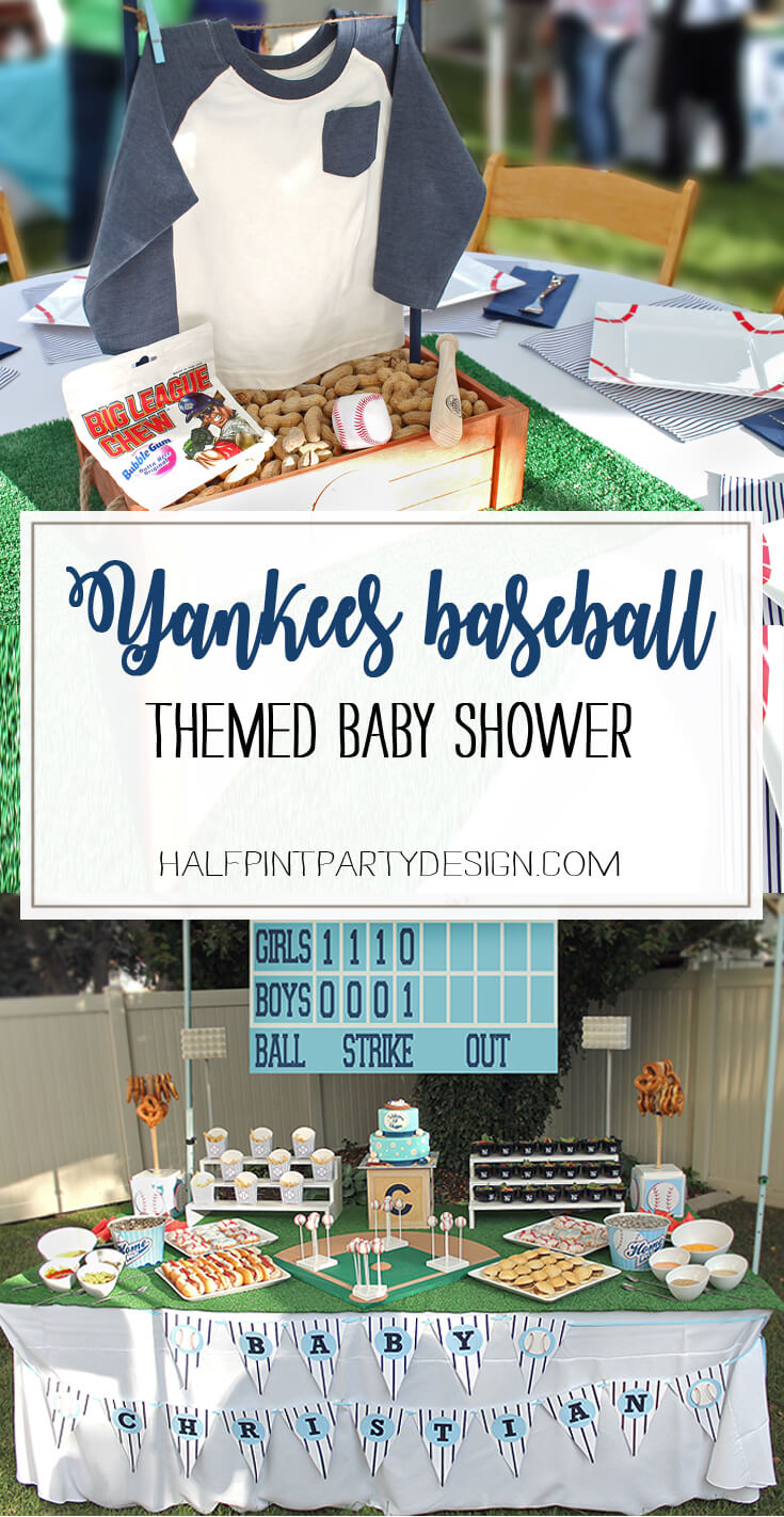 This baby shower was so much fun! Incredible baseball details from a real party thrown for a mom of three girls who is finally having a boy! Dad is a BIG Yankees fan. It's a theme made in heaven! Yankees Baseball Themed Baby Shower | Halfpint Design - boy baby shower theme, baseball party