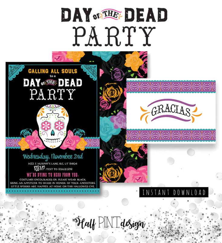These are the perfect Day of the Dead party invitations on Etsy! They come with a pattern for the back and a thank you card. Dia de los Muertos Party Resources   Halfpint Design - Halloween party, party decorations, party clothes