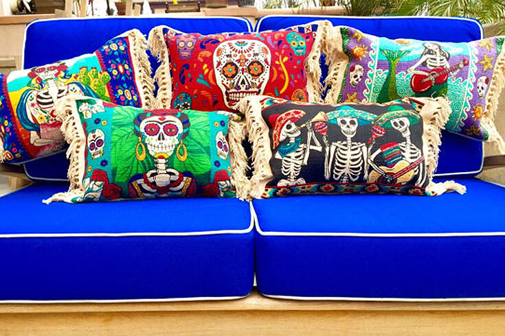 Day of the Dead pillows to spice up your house for the holidays. Dia de los Muertos Party Resources   Halfpint Design - Halloween party, party decorations, party clothes