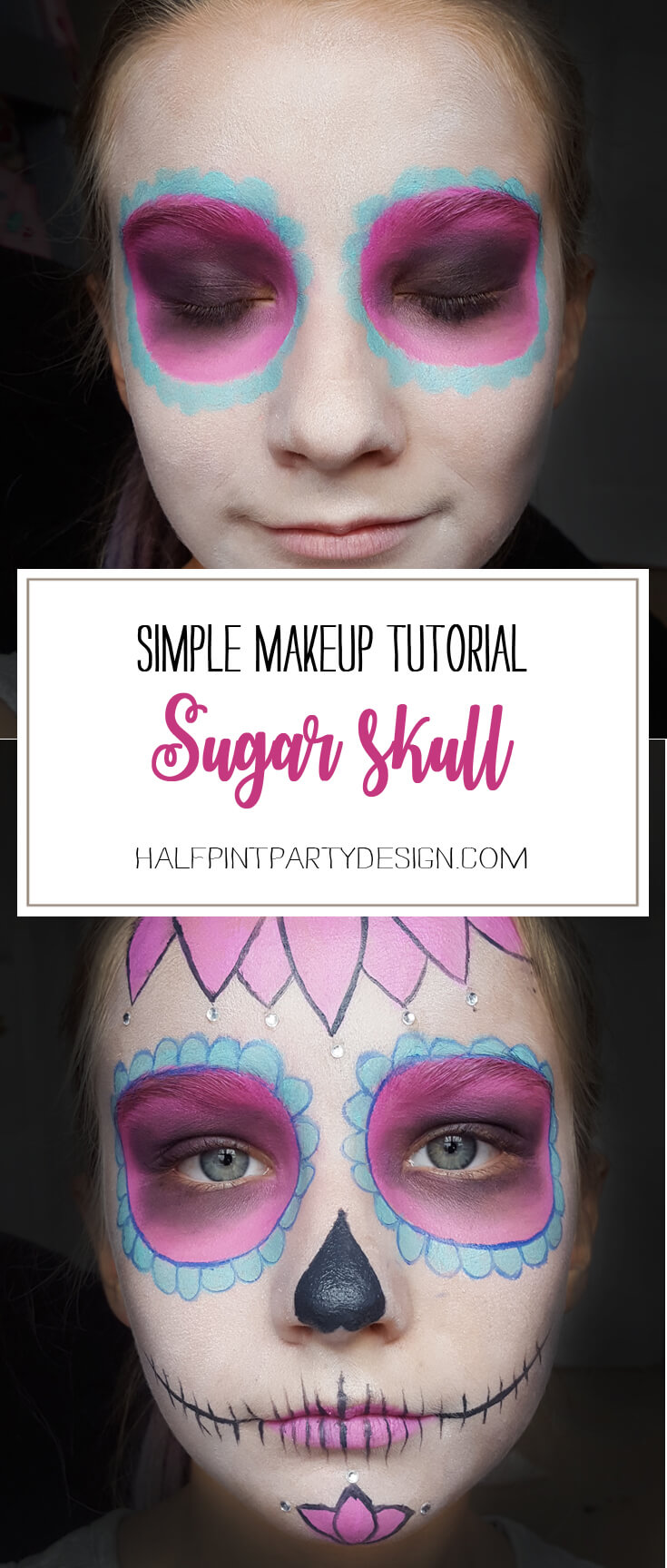 If you've ever wondered how to do cool sugar skull makeup for a day of the dead or Halloween party this tutorial is for YOU! SUPER easy, anyone can do it. Step 1-Sweet Sugar Skull Makeup Tutorial | Halfpint Design - party makeup, costume makeup, dia de los muertos,