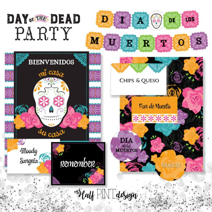 Once you've invited friends and family to your Coco movie party celebrate with fabulous Day of the Dead printables any day of the year! Coco Viewing Party Tips at Halfpint Design. Day of the Dead Party, Dia de los Muertos, Coco birthday party