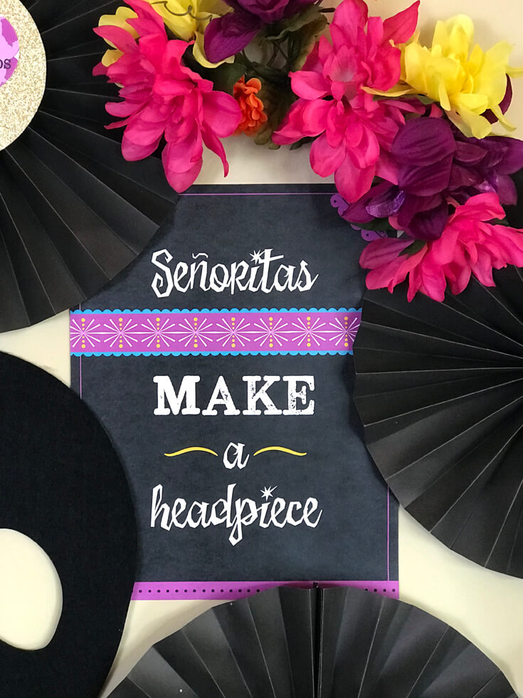 Have guests create a floral headpiece to wear while watching Coco. Coco Viewing Party Tips at Halfpint Design. Day of the Dead Party, Dia de los Muertos, Coco birthday party