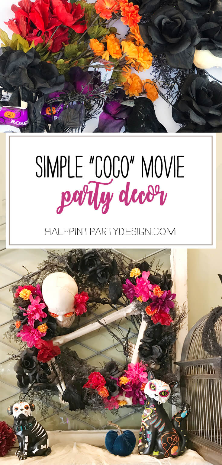 How do you dress up your Halloween decor for a Day of the Dead Coco Movie Party? It's easy! Put a flower on it! Check out this Day of the Dead Holiday Wreath Transformation from Halfpint Design. Day of the Dead party, Dia de los Muertos decor, Decor DIY, Coco party