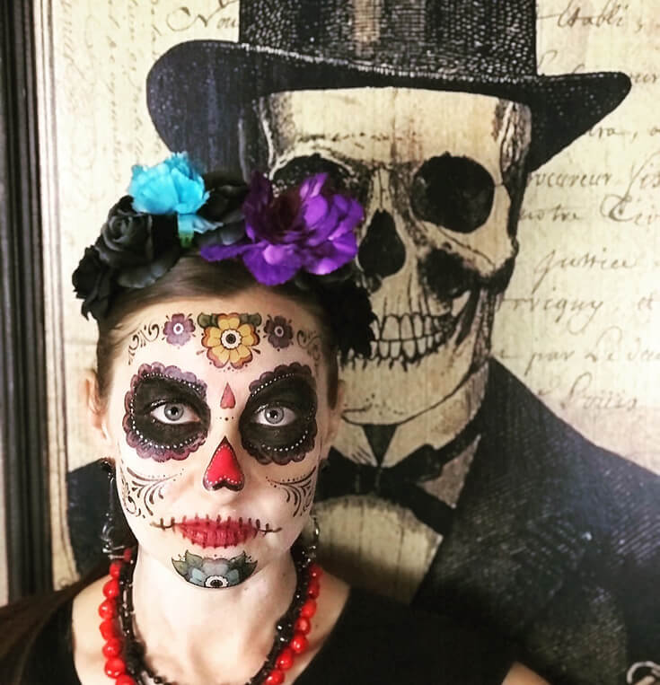 Want to join in on the sugar skull fun? You can use face paint or take the easy way out with a face tattoo like I did! Coco Viewing Party Tips at Halfpint Design. Day of the Dead Party, Dia de los Muertos, Coco birthday party