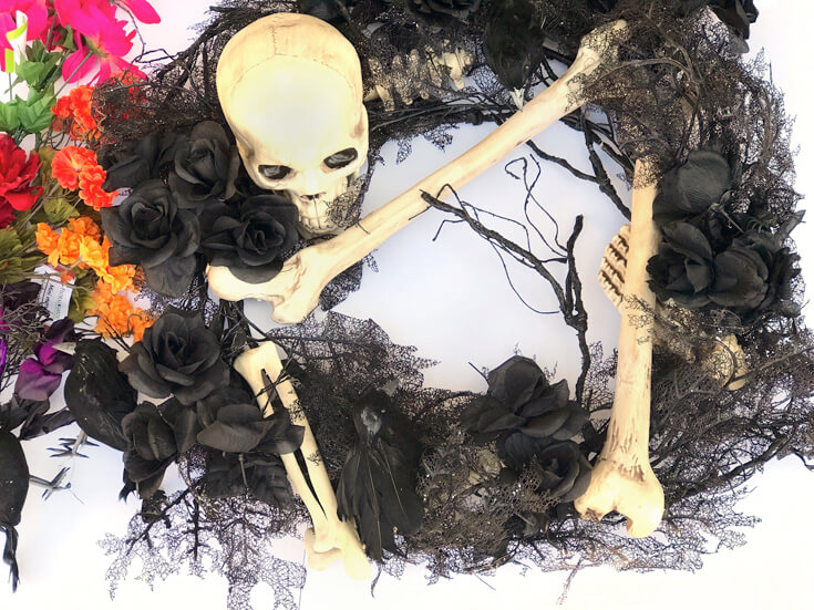 The original Halloween wreath which I love. But needed a little TLC for reuse in a Coco viewing party. Day of the Dead Holiday Wreath Transformation from Halfpint Design. Day of the Dead party, Dia de los Muertos decor, Decor DIY