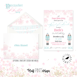 Looking for a great winter birthday idea? Or holiday party theme for your friends and family? A Nutcracker ballet party is the perfect theme and I've got a list of 26 amazing products that will up your party game! This invitation from the Sugar Plum Fairy is so soft and feminine, comes with a back and envelope design and envelope liner pattern which takes your invite to the next level! Pretty Pastel Nutcracker Ballet Party Ideas on Halfpint Design. Ballet party, Christmas party, Nutcracker party.