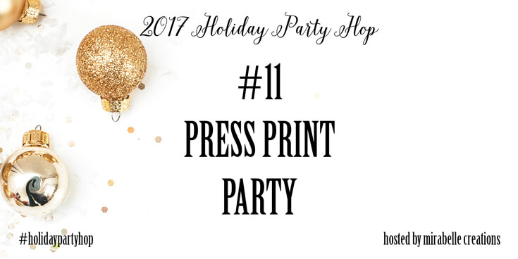 Holiday Party Blog Hop 2017. #11 Press Print Party. #12 Cozy Cottage Christmas Tablescape on Halfpint Design.