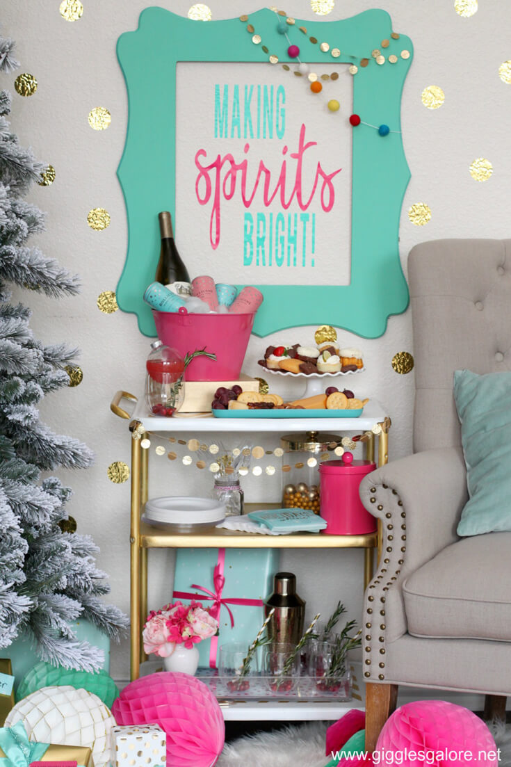 Holiday Party Blog Hop 2017. #12 Cozy Cottage Christmas Tablescape on Halfpint Design. #13 Giggles Galore Holiday Bar Cart.