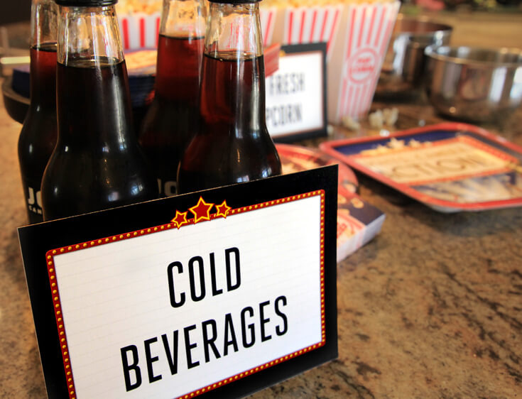Cold beverages are a must for the movies. Soda in glass bottles are a fun party upgrade. Movie Star Party, Oscar Party, Rock Star Party on Halfpint Design