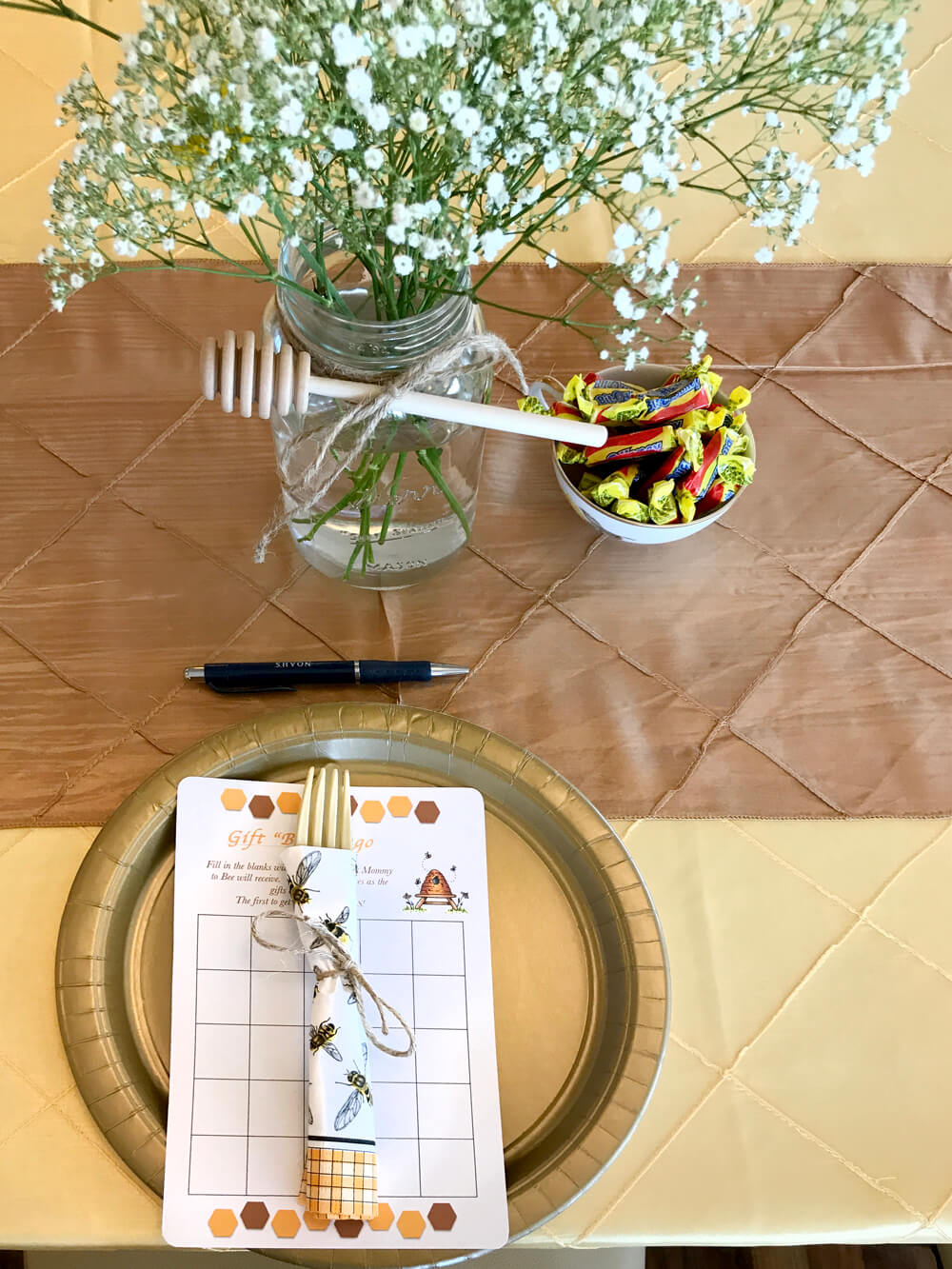 Place setting for mommy to be baby shower