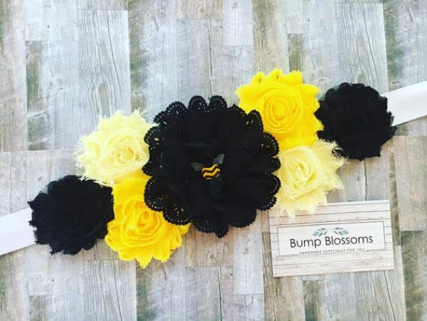 Black and yellow flowered sash for Mommy to Bee to wear to What will it BEE? Gender reveal party
