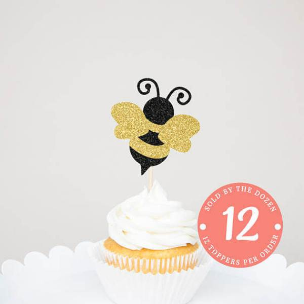Glitter gold and black bumble bee cupcake topper