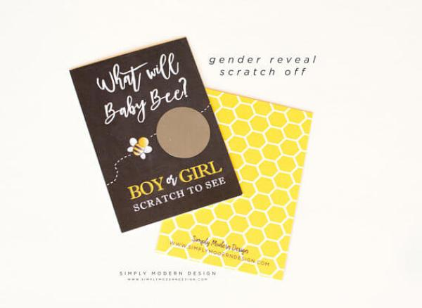 What will baby bee boy or girl scratch cards for a What will it bee? Gender reveal party