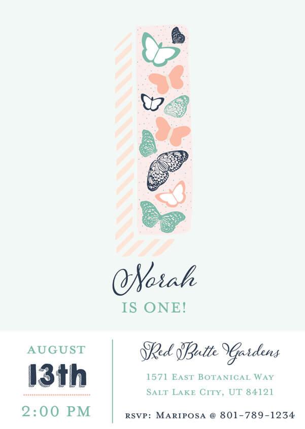 First birthday party invitation for an Enchanted Butterfly party.