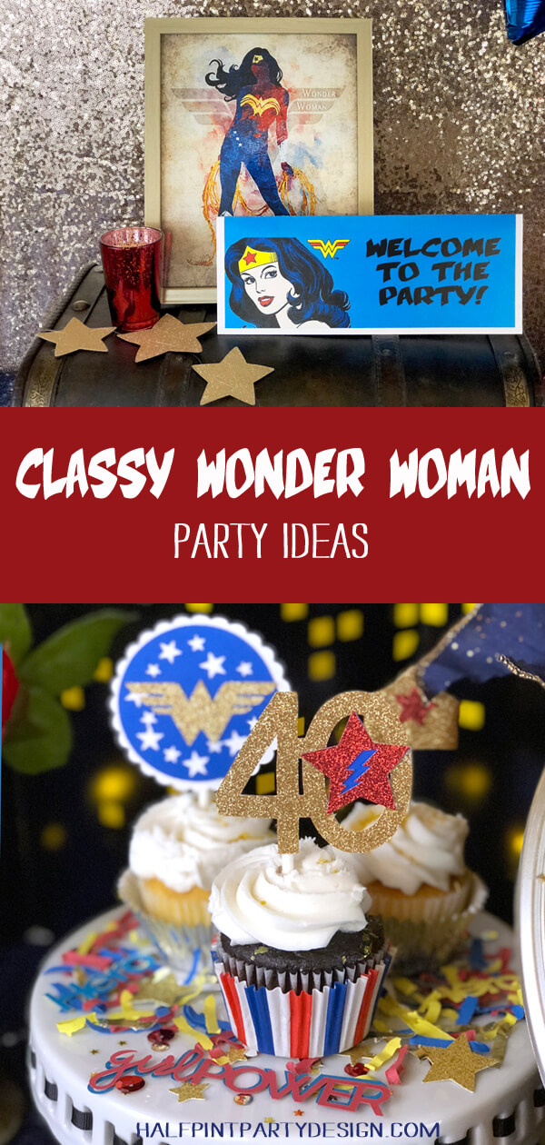 Pinterest collage Classy Wonder Woman party ideas