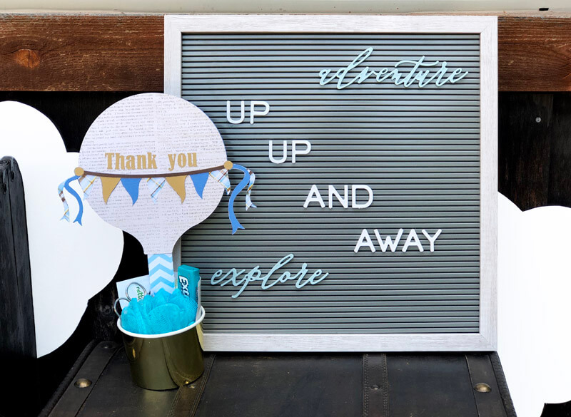 Hot Air balloon thank you and Up up and Away Letter board sign for an Adventure themed baby shower