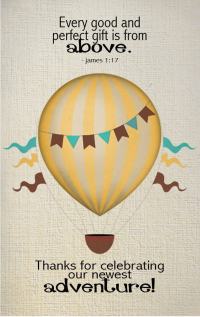Every good and perfect gift is from above. Hot air balloon baby shower favor tag.