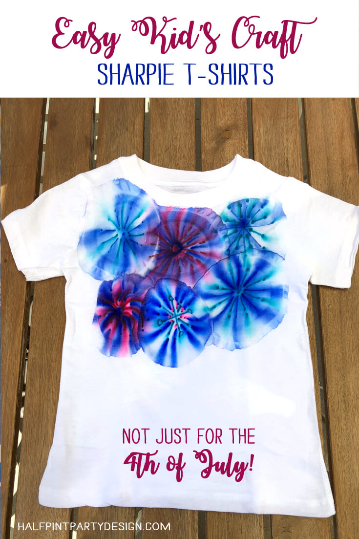 Pinterest image Easy Kid's Craft showing a completed sharpie t-shirt
