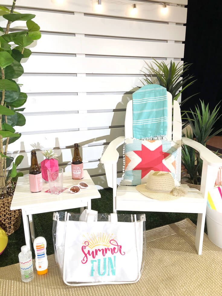 A party Adirondack set up indoors for the Cricut Mountain Make-a-thon for Cricut made DIY Gift Ideas