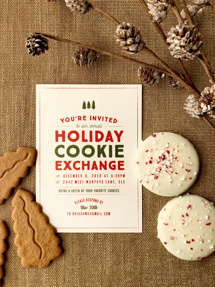 Holiday Cookie Exchange Christmas Party Invitation with cookies and pinecones