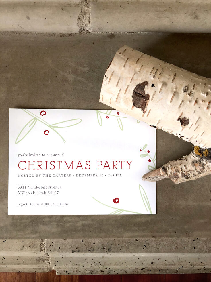 Modern Christmas Party Invitation with birch log