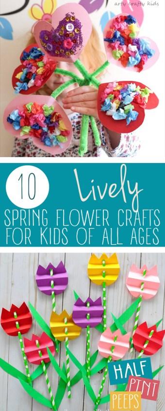 10 Lively Spring Flower Crafts for Kids of All Ages| Crafts for Kids, Easy Crafts for Kids, Spring Crafts for Kids, Spring Crafts, Crafts for Kids, Kid Stuff, Kids Crafts