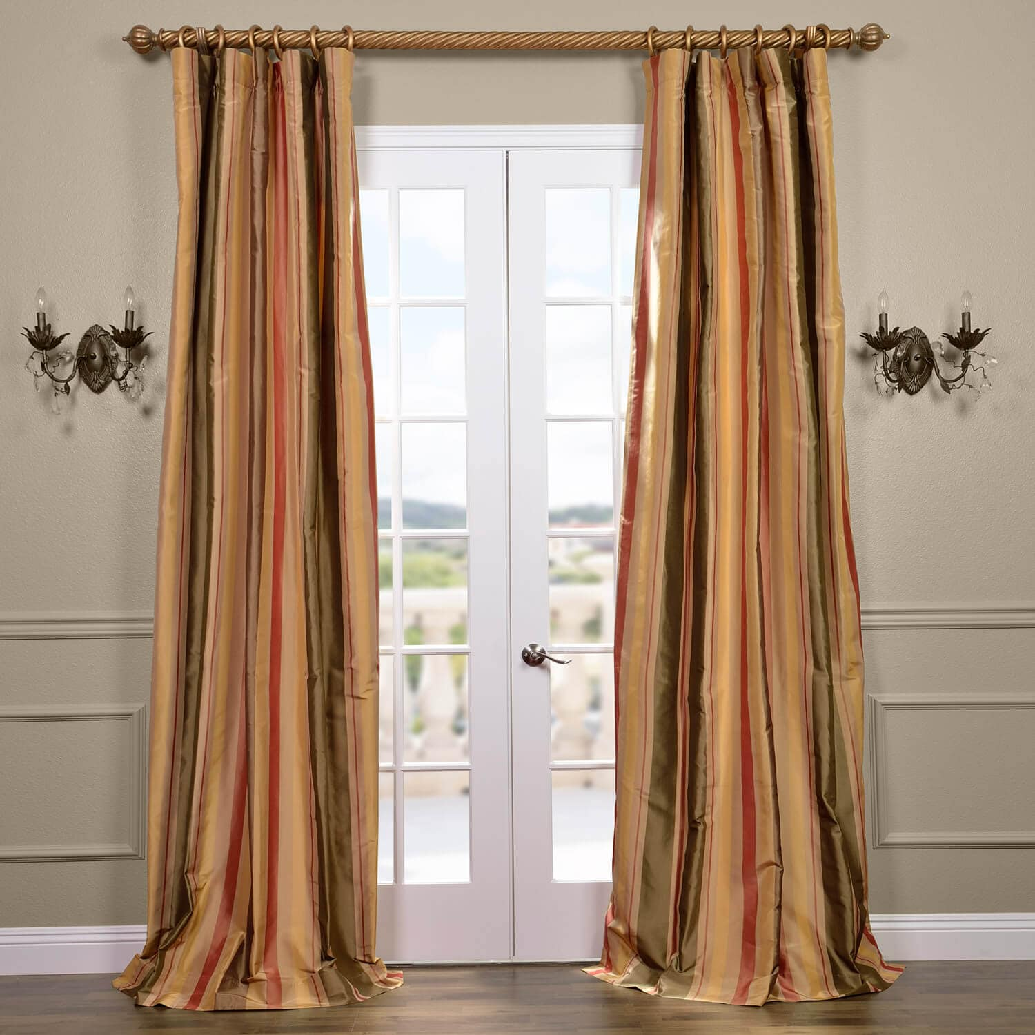 Buy Pacific Heights Silk Stripe Curtains, Drapes