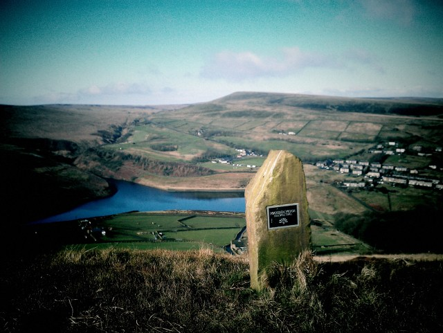 Heritage Trail Stone number 9 with a Pule Hill view