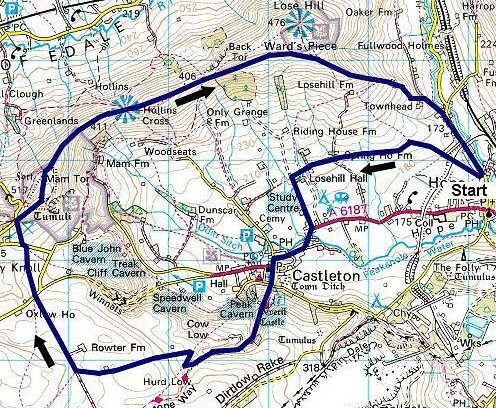 mam tor ridge walk map
