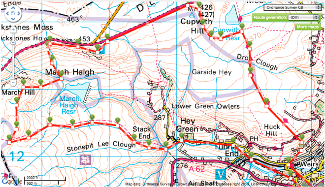 march Hill and Cupwith hike route map