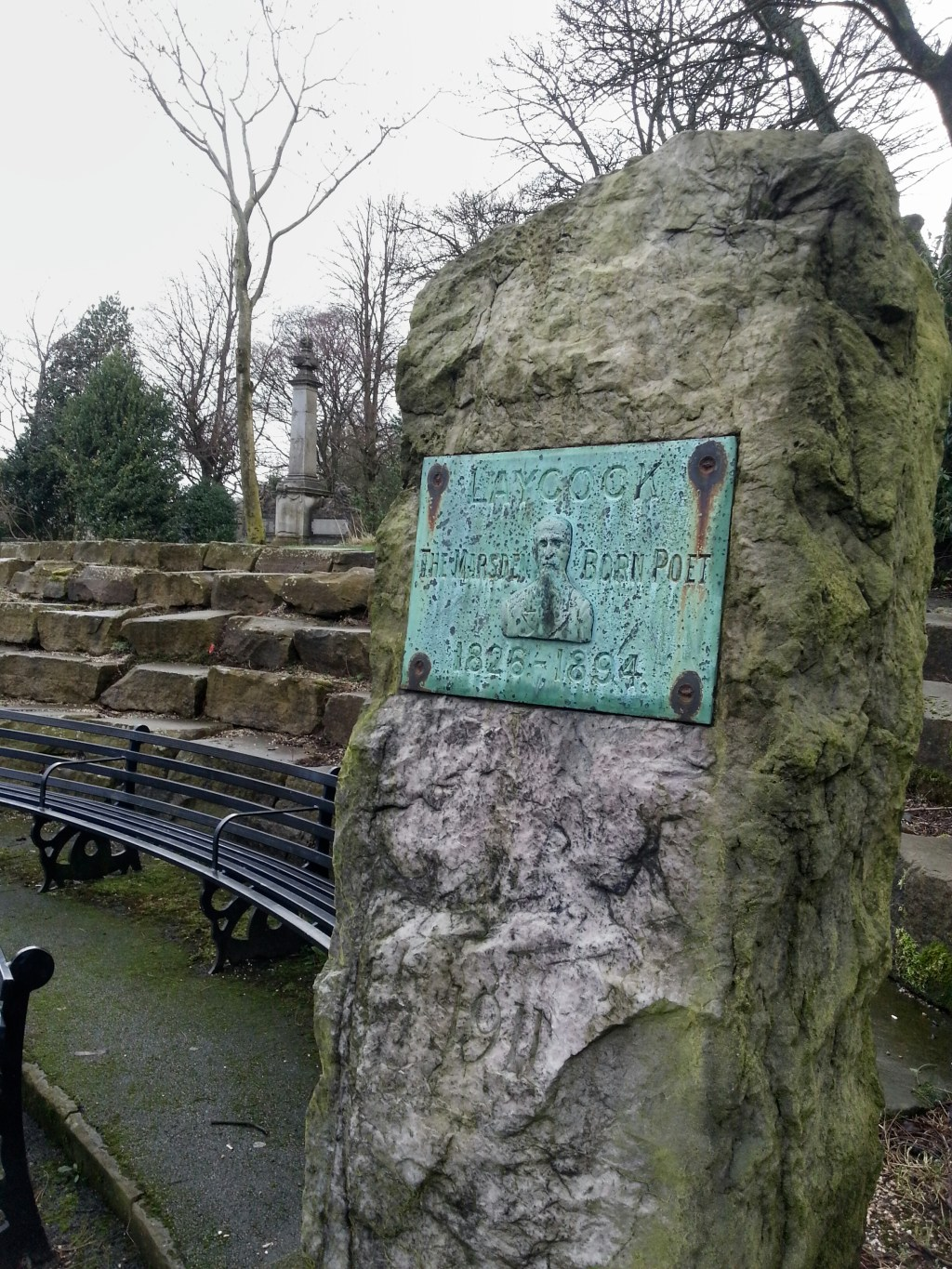 Samuel Laycock memorial stone Marsden park as part of a Poetry Trail Marsden