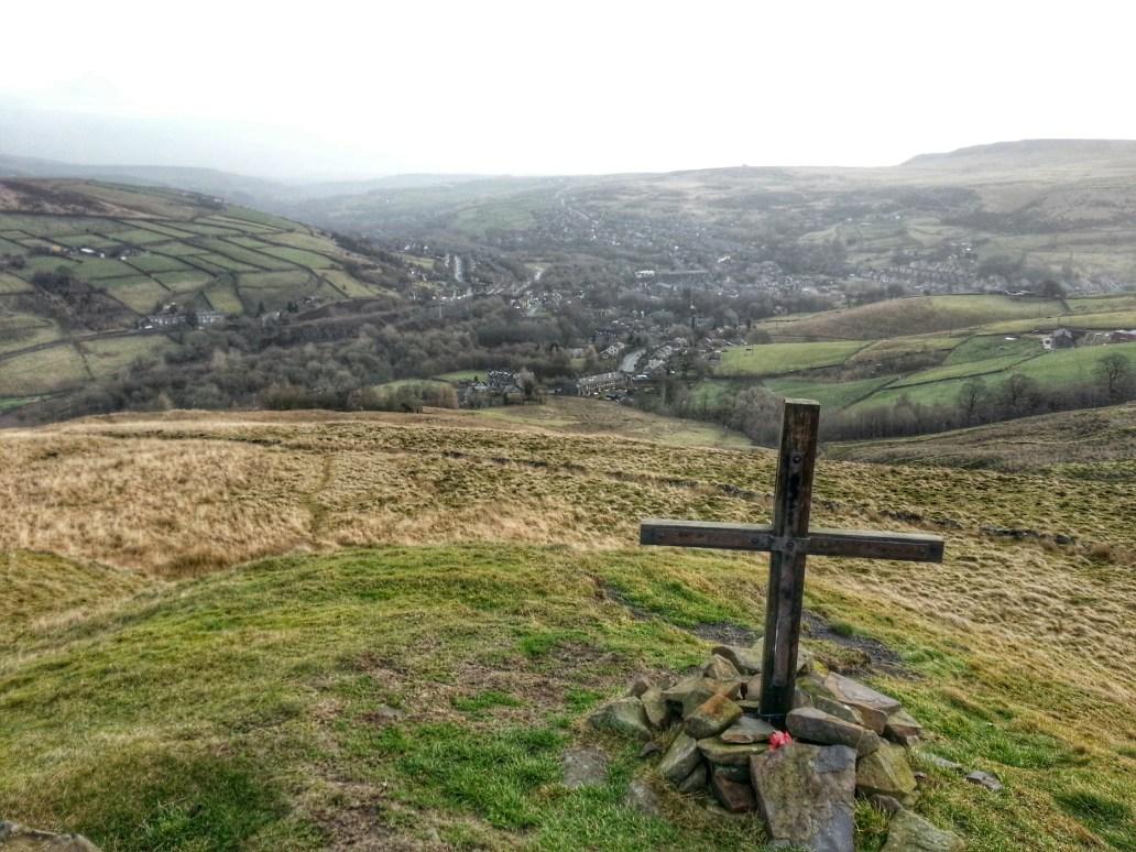 Pule Hill WW2 Memorial Cross - looking back down to Marsden on the Poetry Trail Marsden
