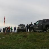Well over 80 Mi'kmaq and non-native citizens took part in a protest against plans to dup huge amounts of salt into the Shubenacadie River. Photo Robert Devet.
