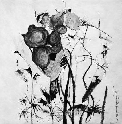 NATURE SCRIPTURES Series: Memory of Ikebana #1, Ink on Tyvek, 79x79cm