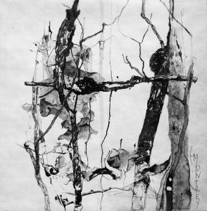 NATURE SCRIPTURES Series: Memory of Ikebana #4, Ink on Tyvek, 79x79cm